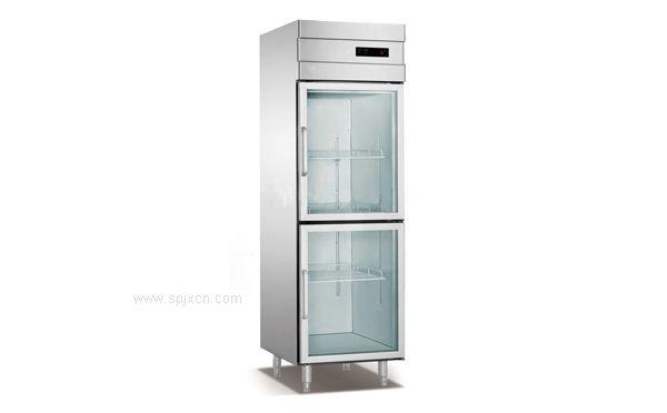 厨房两门立式不锈钢玻璃门冷柜,安德利冷柜,环保节能,质量保障