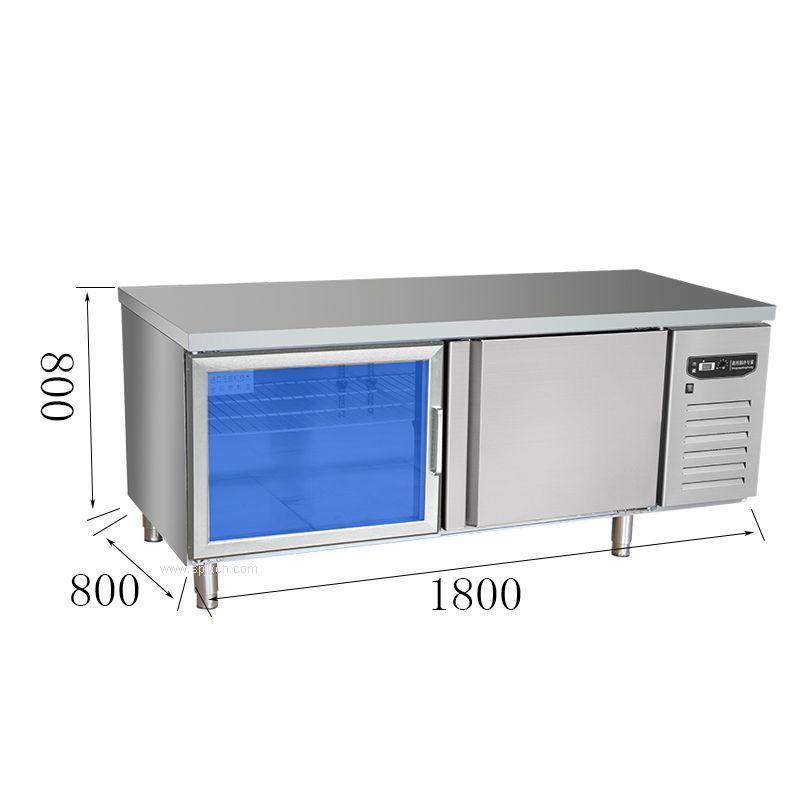 1.8平冷操作台双温冷藏冷冻商用后厨奶茶店酒吧卧式厨房柜麻辣烫